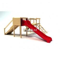 Hrad se skluzavkou, řetězovou sítí, provazovým žebříkem a šikmým chodníkem, výška podesty 1,0 m