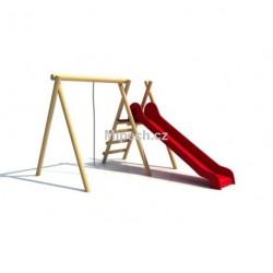Konstrukce s volným lanem a skluzavkou, výška skluzavky 1,0 m