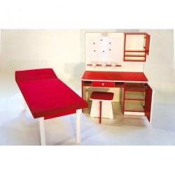 Doktorský stůl s magnetickou tabulí bílo/červený