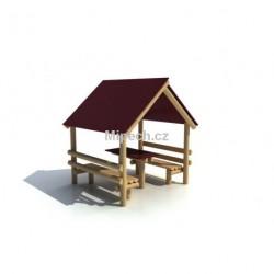 Domeček s lavičkami a stolečkem