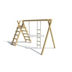 Konstrukce s provazovým žebříkem, žebříkem a lanem