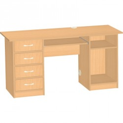Učitelský stůl se zásuvkami a policí na PC, levý - 150x76x60 cm