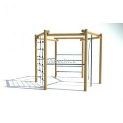 Šestiúhelníková cvičná stěna 2x hrazda, šplhací lano, žebřík, řetězová síť, šplhadlo, výška 2,1 m