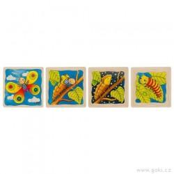 Motýl – vývojové vrstvené puzzle ze dřeva, 4 vrstvy, 44 díly