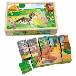 Obrázkové kostky - domácí zvířátka 15 kusů