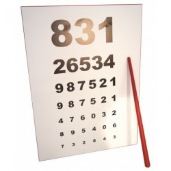 Nástěnka očního lékaře s ukazovátkem