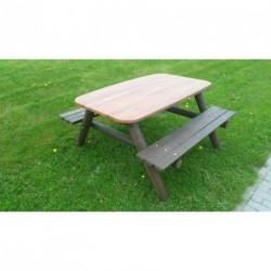 Venkovní stůl velký se dvěma lavicemi, stolová deska 800 x 1400 mm (Nejoblíbenější produkt)