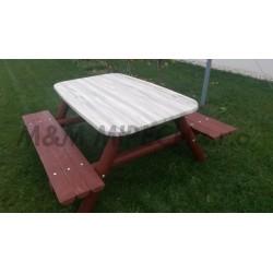 Venkovní stůl velký se dvěma lavicemi, stolová deska 900 x 1500 mm (Nejoblíbenější produkt)