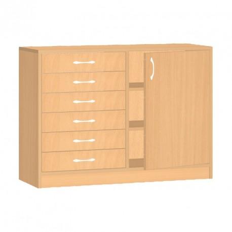 Safety skříňka se zásuvkami a dvířky - 100x76x45 cm
