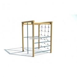 Čtvercová cvičná stěna, hrazda, šplhadlo, žebřiny, řetězová síť, výška 2,1 m